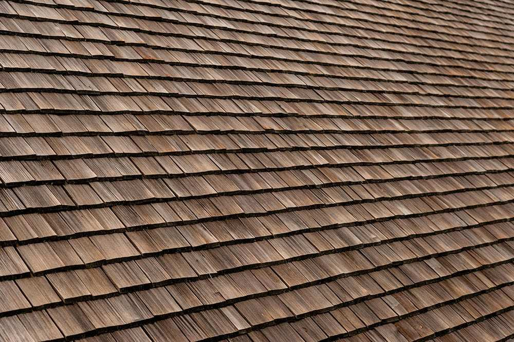 Close up of wood shingles on roof