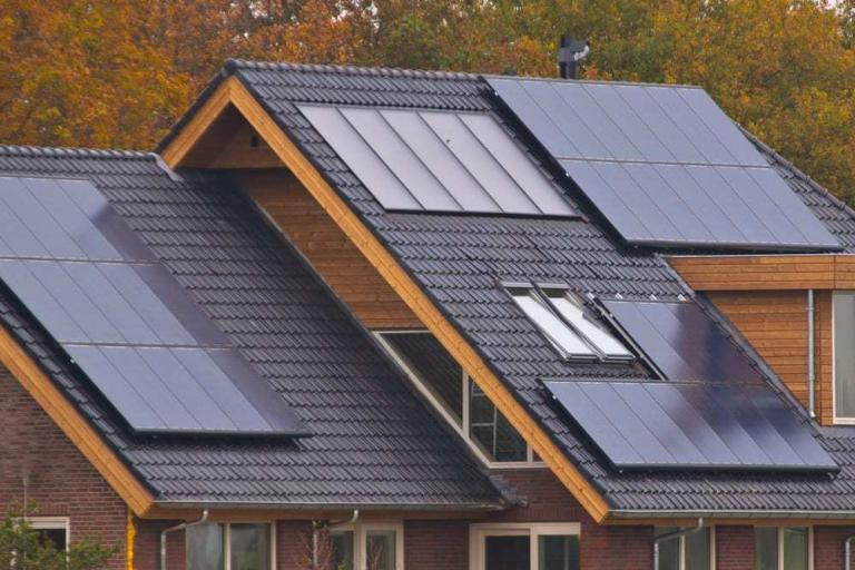 Solar panels on residential roof