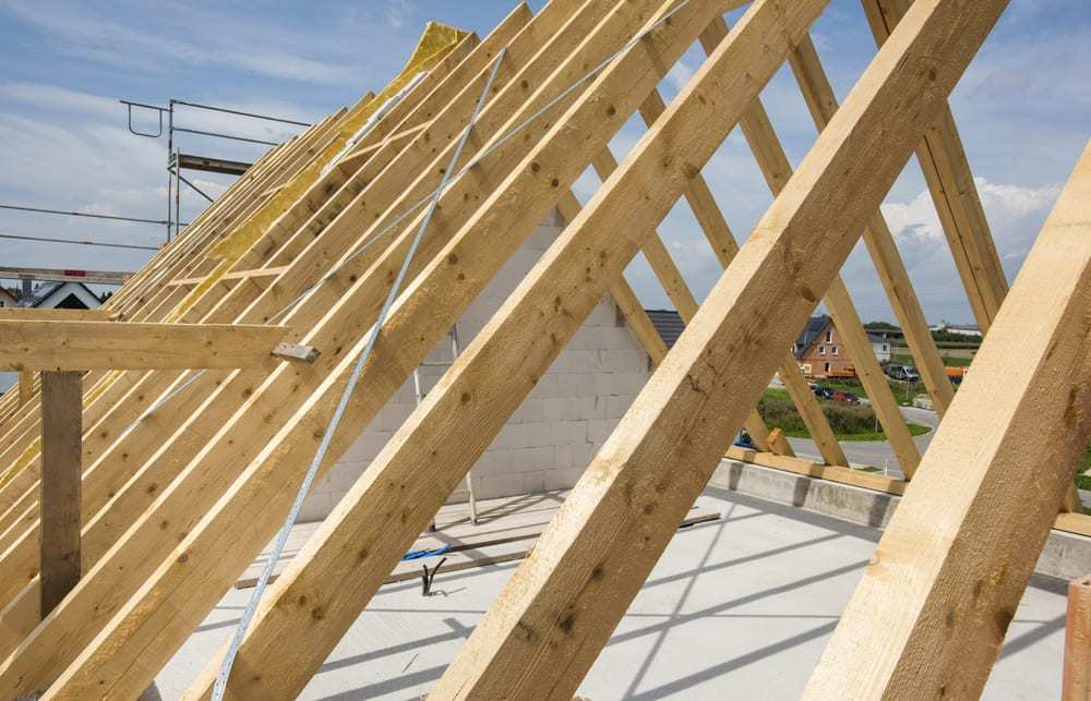 Framework of a new residential roof