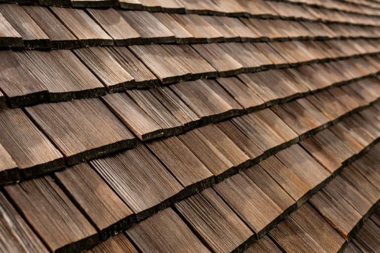 Wood shake roof close-up